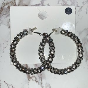 Brand New Rhinestone Hoop Earrings